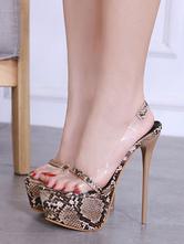 Frauen Sexy Sandalen Plattform Offene spitze Schlange Muster Stiletto Sandalen Schuhe High Heel Sandalen