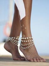 Perlenfußkettchen Armband geschichteten Strand Schmuck für Frauen