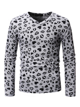 Long Sleeve T Shirt Sweatheart Kiss Print V Neck Cotton Grey Undershirt For Men