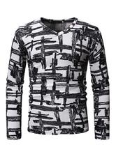 Long Sleeve T Shirt V Neck Geometric Print White Men Undershirt