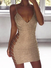 Sexy Club Dress Sleeveless Bodycon Dress Cut Out Shaping Mini Dress