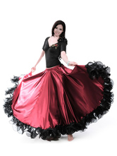 Burgundy Dance Costumes Female Flamenco Dress Billowing Mesh Adults Spanish Dancer Ballroom Dress Paso Doble Skirt Carnival