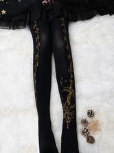 Velvet Lolita Pantyhose Flower Feather Print 120D Lolita Stocking