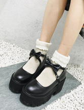 Classic Lolita Footwear Bow Strappy Platform PU Black Lolita Shoes