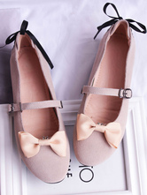 Sweet Lolita Pump Suede Bow Lace Up Apricot Lolita Shoes