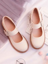Sweet Lolita Shoes Cowhide Round Toe Buckled Apricot Lolita Footwear