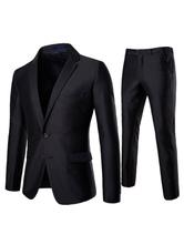 Blazer noir à deux boutons pour hommes avec un pantalon de costume