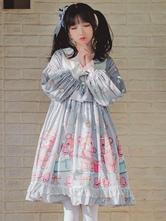 古典的なロリータOPドレススリーピングベアレースボウフリルプリーツライトグレーロリータワンピースドレス