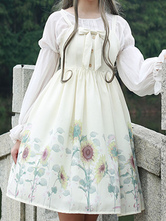 Classic Lolita JSK Dress Sunflower Print Bow White Lolita Jumper Skirt