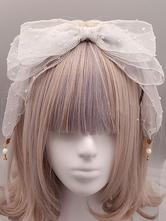 Clássico Lolita Headband Angel Street Bow Pérola Cinza Claro Lolita Cabelo Acessório