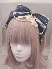 Classic Lolita Headband Metallic Design Lace Pearl Ruffle Bow Lolita Hair Accessory