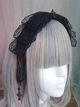 Gothic Lolita Headdress Lace Bow Metallic Design Black Lolita Hair Accessory