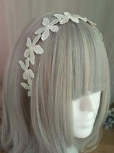 Sweet Lolita Headband Floral Pearl Embroidered Ecru White Lolita Hair Accessory