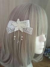 Sweet Lolita Hair Clip Floral Lace Pearl Embroidered Ecru White Lolita Hair Accessory
