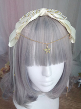 Sweet Lolita Headband Chain Bell Bow Ecru White Lolita Hair Accessory