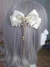 Sweet Lolita Hair Clip Bow Pearl Beel Chain Satin Lolita Hair Accessory