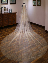 Gold Wedding Veil One Tier Tulle Sparkling Waterfall Cut Edge Bridal Veils