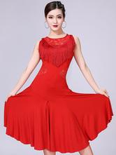 Disfraz Carnaval Disfraz de baile latino rojo, borlas de encaje, vestidos de baile cortos Halloween Carnaval Halloween