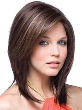 Каштановые волосы парики женщин выделив боковые расставания короткие прямые синтетические парики