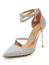 Silver High Heels Glitter Pointed Toe Ankle Strap Prom Shoes Women Evening Shoes