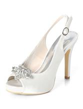 5bf6e95b404e Silver Wedding Shoes Satin Peep Toe Rhinestones High Heel Bridal Shoes