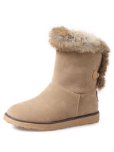 Women Snow Boots Suede Round Toe Fur Detail Winter Boots