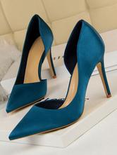 Satin High Heels Women Pointed Toe Stiletto Heel Pumps