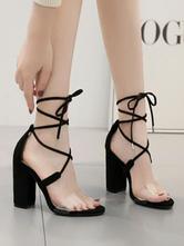 Босоножки на высоком каблуке с открытым носком Черные босоножки на каблуке для женщин