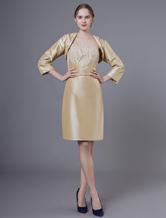 Mother Dresses Outfit Taffeta Applique Sheath Short Knee Length Wedding Party Strapless Dress With Bolero Jacket Set