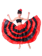 Kids Dance Costumes Black Layered Billowing Skirts Flamenco Dress Paso Doble Spanish Skirt for Girls Carnival