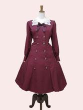 Clássico Lolita OP Vestido De Renda Arco Duplo Breasted Borgonha Lolita Vestido De Uma Peça