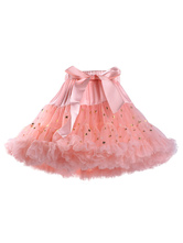 Sweet Lolita SK Tulle Sequin Ruffle Bow Pink Lolita Tutu Skirt For Kids