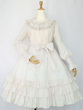 Classic Lolita OP Dress Lace Trim Bow Ruffle Lolita One Piece Dress