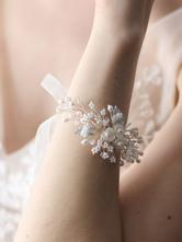 Pulseira De Casamento De Prata Pérolas Jóias Acessórios De Noiva
