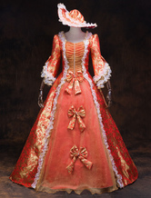 Traje vestido vitoriano feminino vermelho barroco mascarada vestidos de baile com babados trompete meia manga vestido