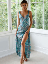 Boho Maxi Dress Sleeveless Cut Out Knotted Blue Printed Summer Dress