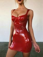 Sexy Bodycon Dress Sleeveless PU Leather Party Dress