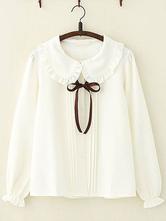 Sweet Lolita Shirt Ruffle Bowknot Peter Pan Collar White Chiffon Lolita Top