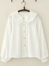 Sweet Lolita Blouse Frill Peter Pan Collar Chiffon White Lolita Shirt