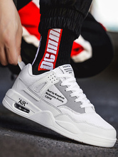 White Skate Shoes Men Round Toe Letters Printed Lace Up Sneakers