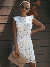 Белое платье Кружевное вязаное платье без рукавов Bodycon Женщины с круглым вырезом с рюшами Вечернее платье