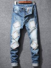 Jean para homens Applique angustiado azul perna reta Denim Jeans