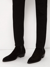 Suede Ankle Boots Black Round Toe Chelsea Boots Men Elevator Shoes