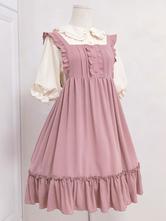 Dulce Lolita Vestido JSK Sister Mill Tea Ruffle Volante Botón Decoración Rosa Lolita Jumper Falda