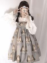 Doce Lolita JSK Vestido Twin Cat Bowknot Folho Algodão Slub Lolita Jumper Saia