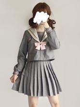Sailor Style Lolita Outfit Sakura Blossom bordado gris con falda plisada