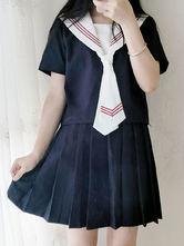 Sailor Style Lolita Outfit Blue Stripe Tie Two Tone Short Sleeve Top With Pleated Skirt