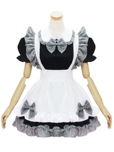 Maiden Estilo Lolita OP Vestido Plaid Bow Ruffle Preto Lolita One Piece Dress