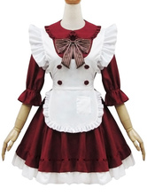 Maiden Style Lolita OP Dress Ruffle Bow Button Decor Burgundy Lolita One Piece Dress
