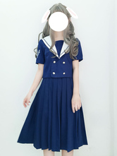 Sailor Style Lolita Outfit Blue Deep Sea Whale Embroidered Double Breasted Short Sleeve Top With Pleated Skirt